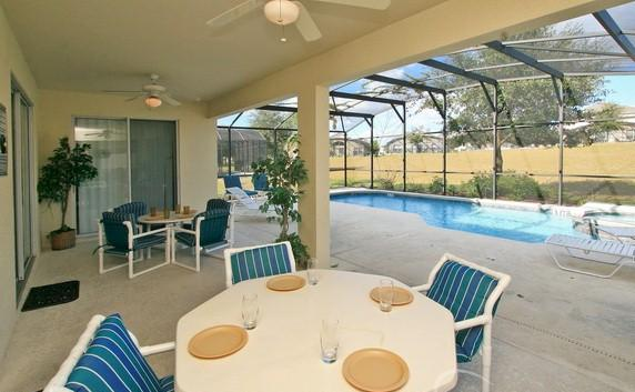 Spacious private patio, pool and spa